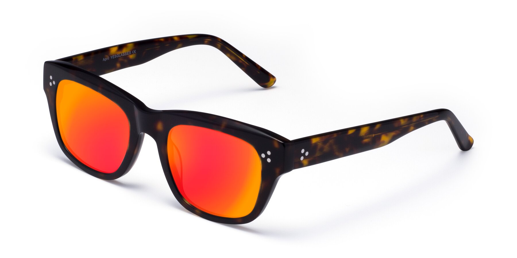 Angle of April in Tortoise with Red Gold Mirrored Lenses