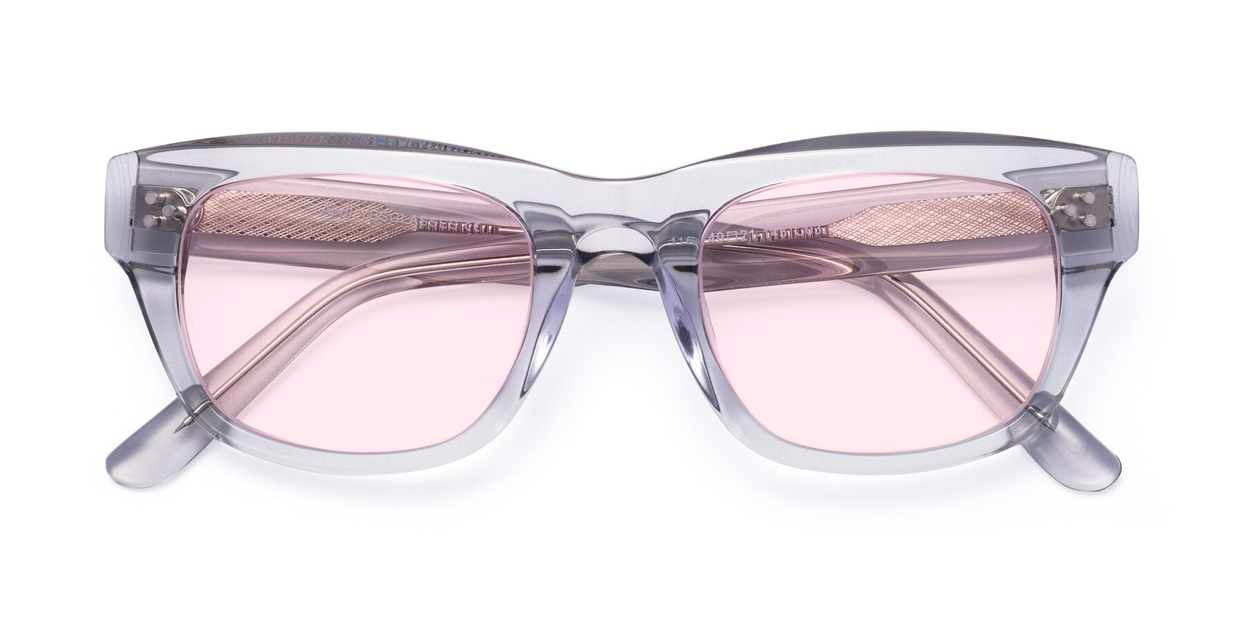 Folded Front of April in Clear with Light Pink Tinted Lenses