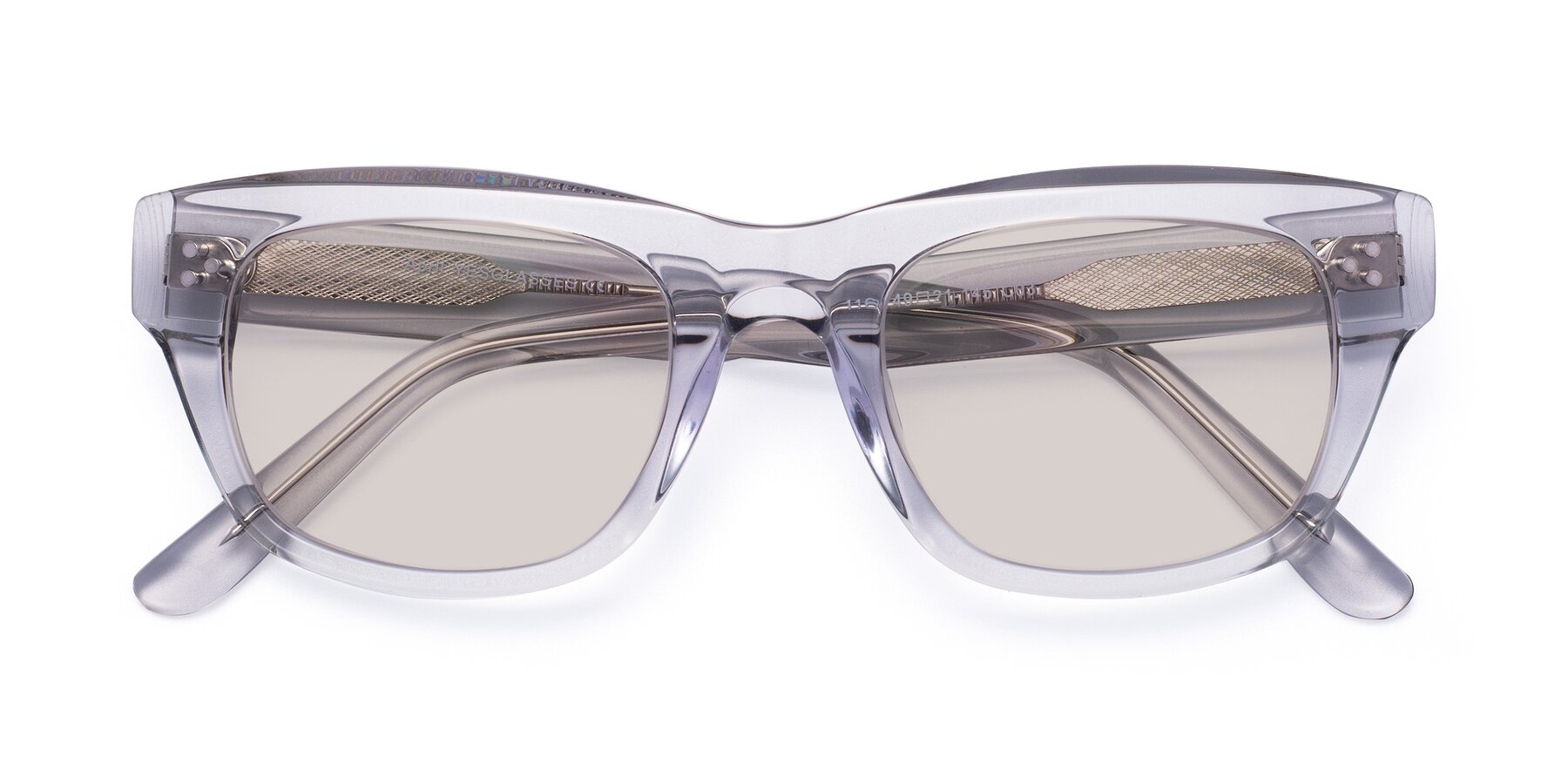 Folded Front of April in Clear with Light Brown Tinted Lenses