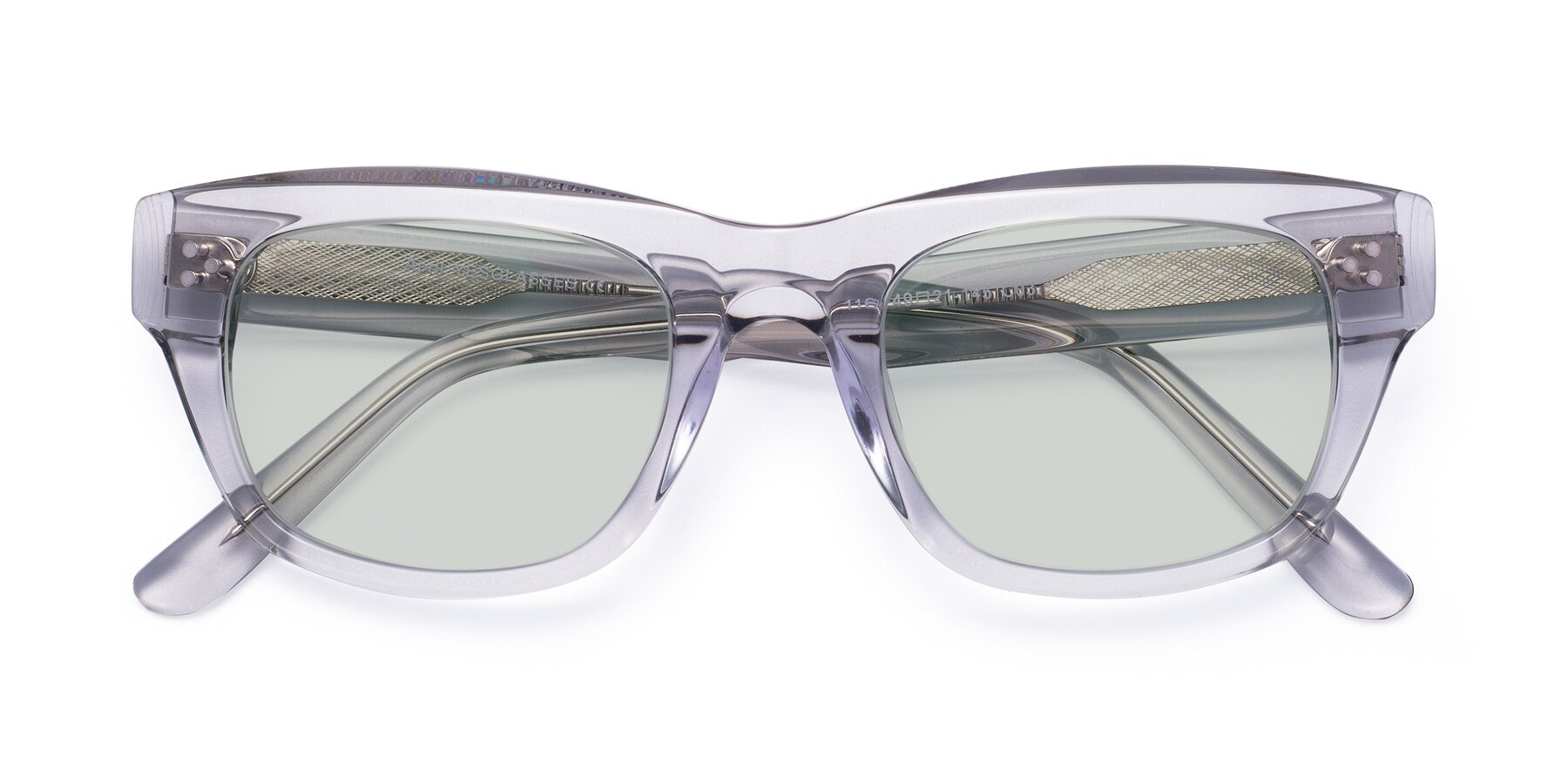 Folded Front of April in Clear with Light Green Tinted Lenses