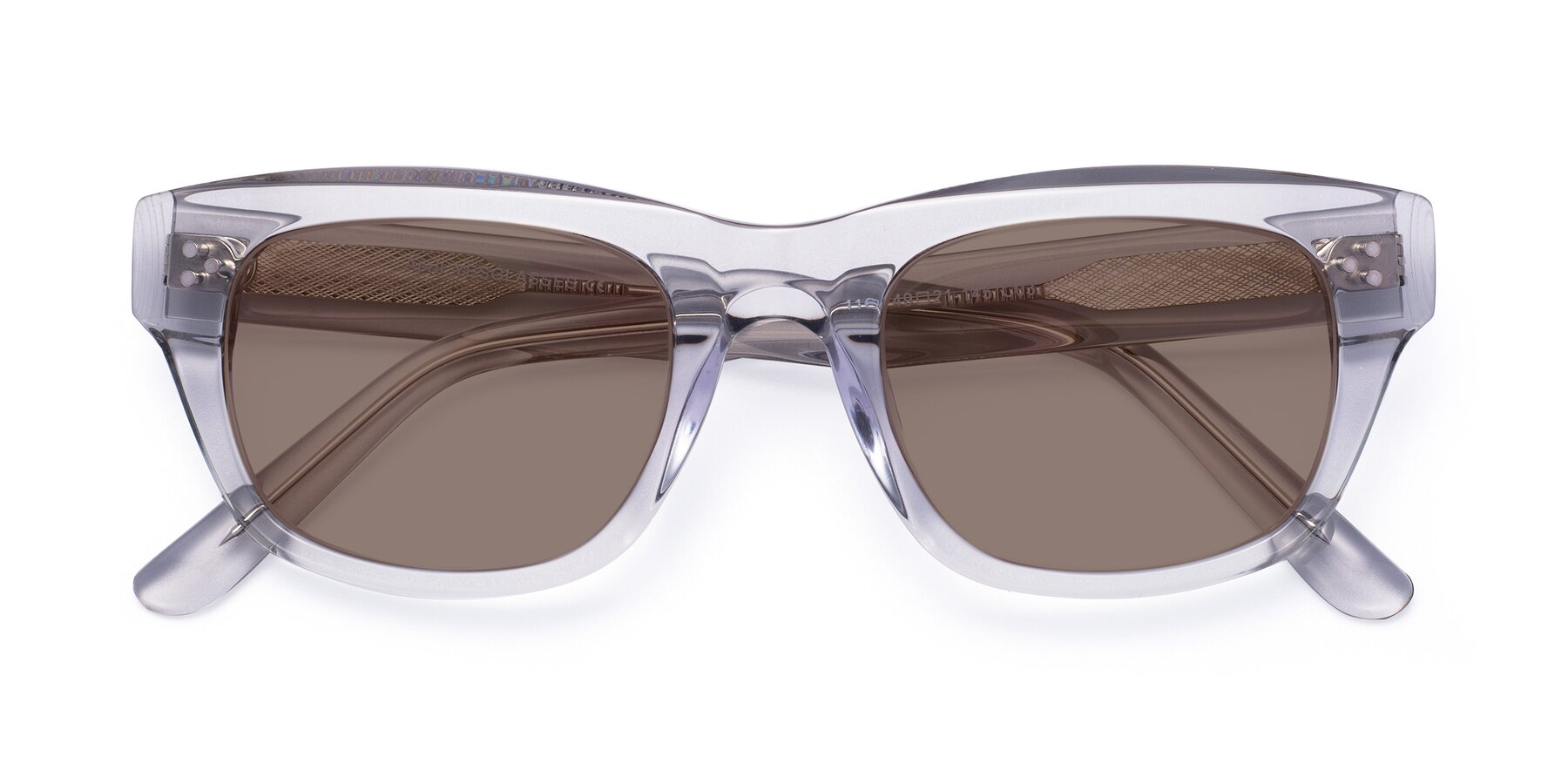 Folded Front of April in Clear with Medium Brown Tinted Lenses