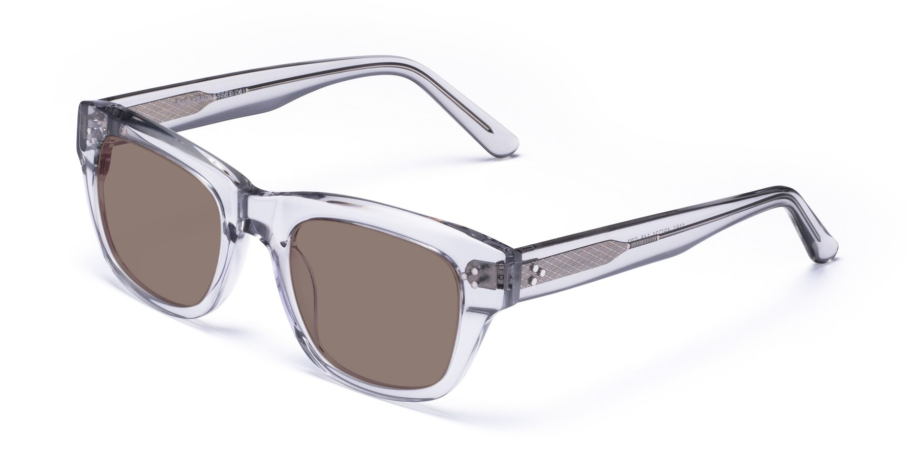 Angle of April in Clear with Medium Brown Tinted Lenses