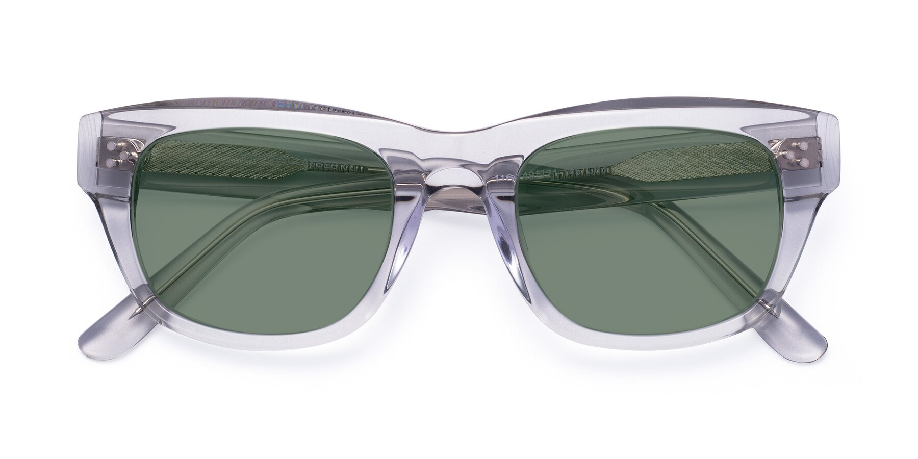 Folded Front of April in Clear with Medium Green Tinted Lenses