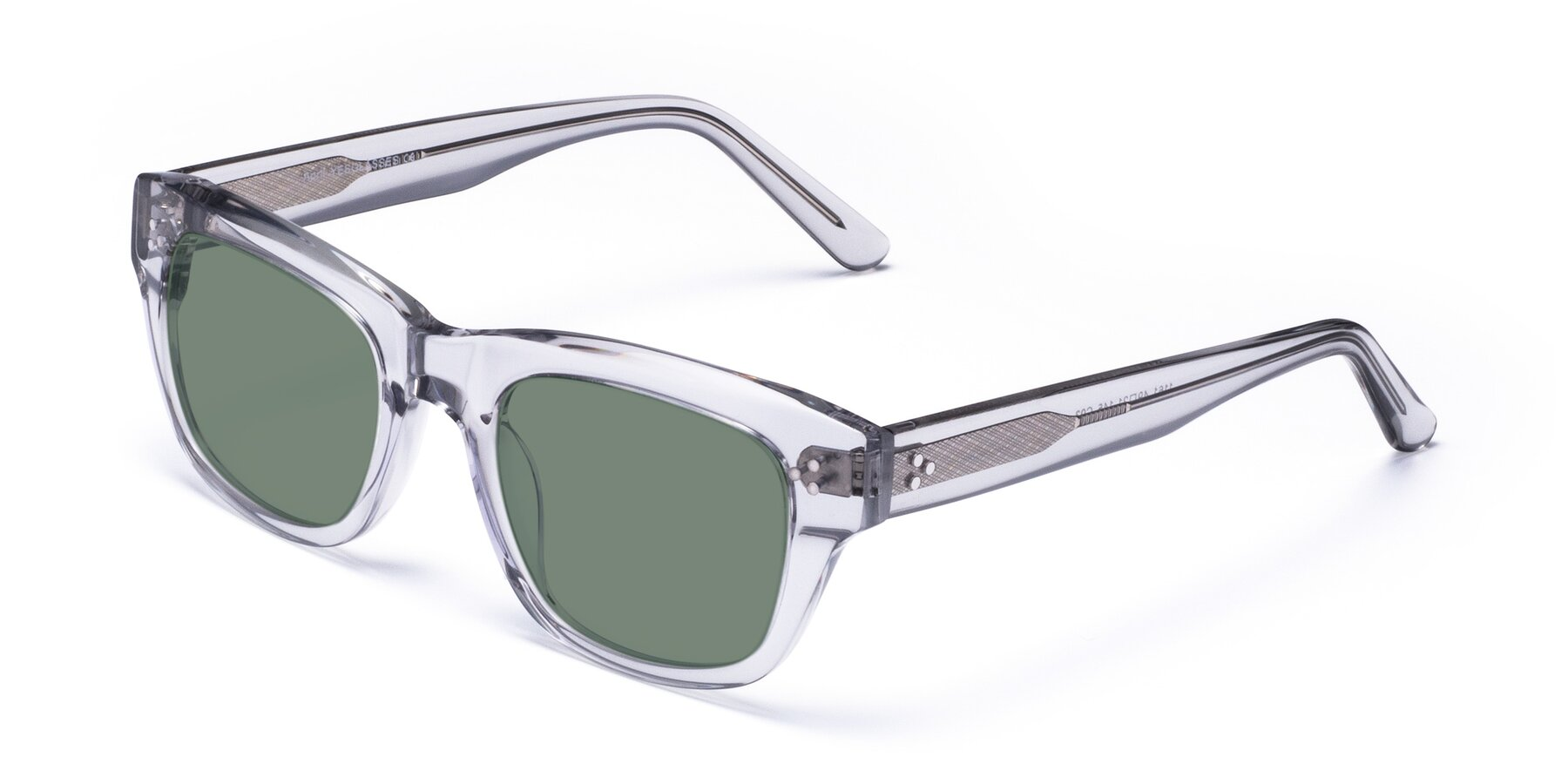 Angle of April in Clear with Medium Green Tinted Lenses