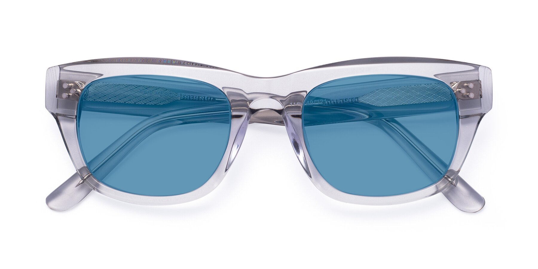 Folded Front of April in Clear with Medium Blue Tinted Lenses