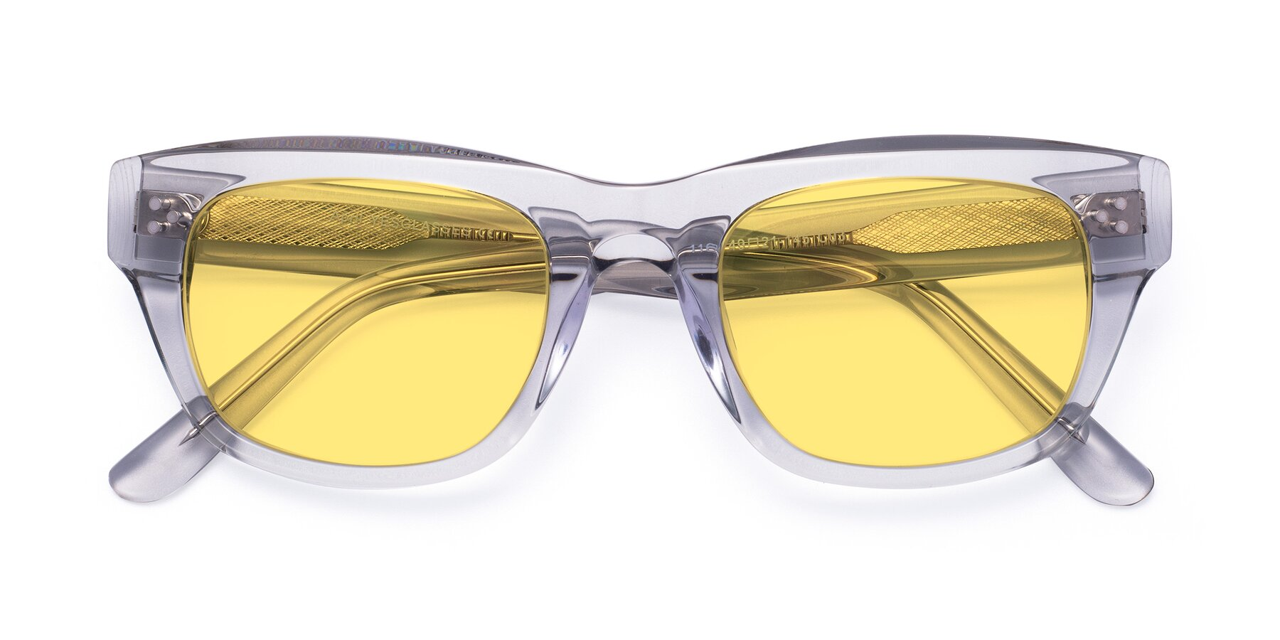 Folded Front of April in Clear with Medium Yellow Tinted Lenses