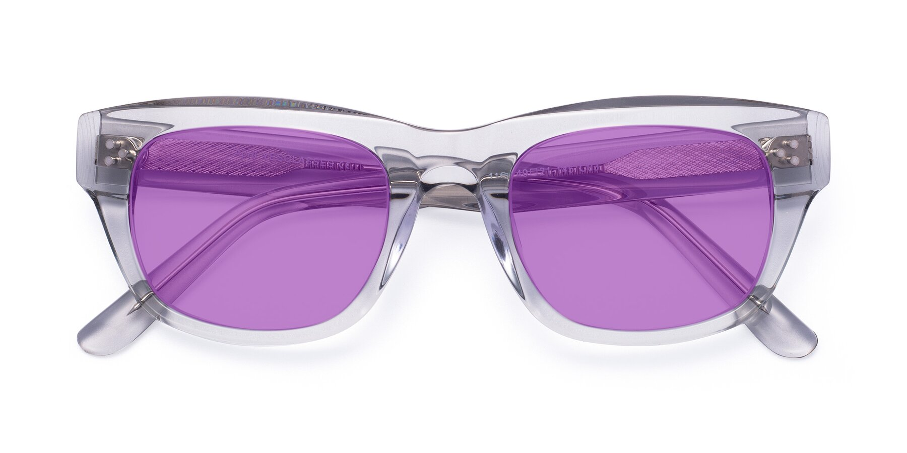 Folded Front of April in Clear with Medium Purple Tinted Lenses