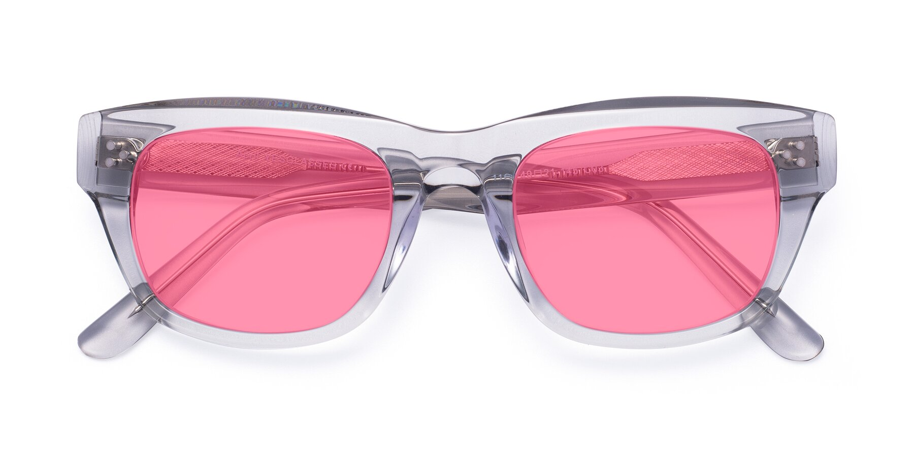 Folded Front of April in Clear with Pink Tinted Lenses