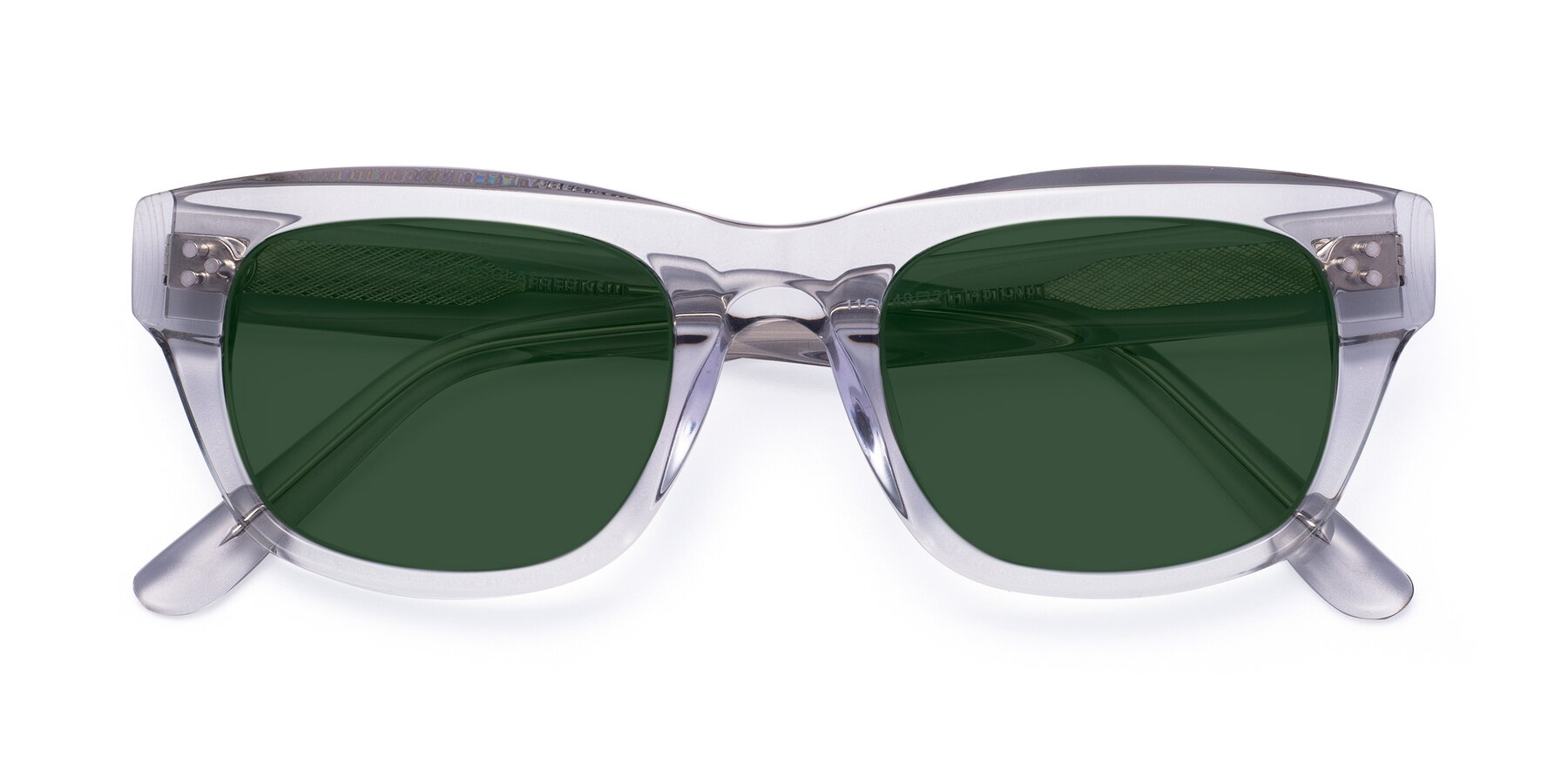 Folded Front of April in Clear with Green Tinted Lenses