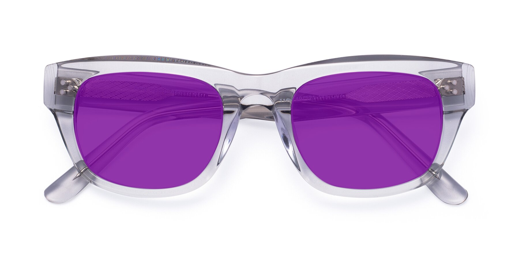 Folded Front of April in Clear with Purple Tinted Lenses
