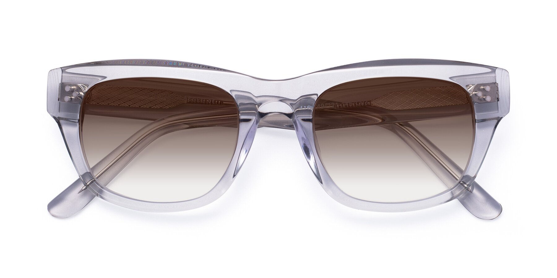 Folded Front of April in Clear with Brown Gradient Lenses