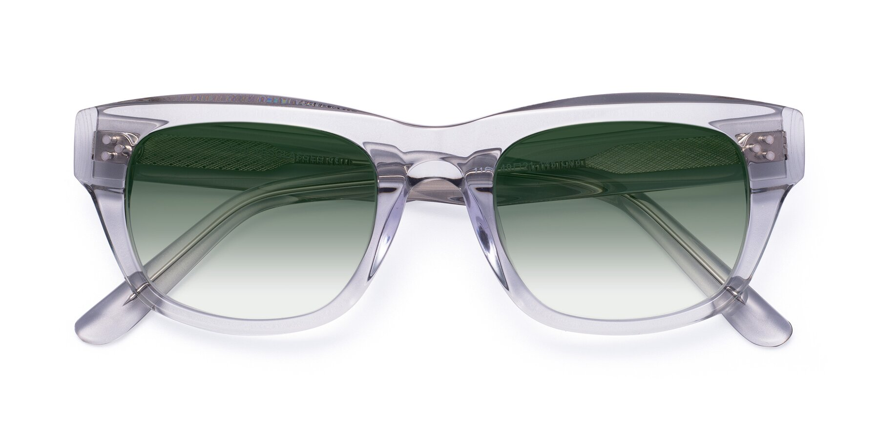 Folded Front of April in Clear with Green Gradient Lenses