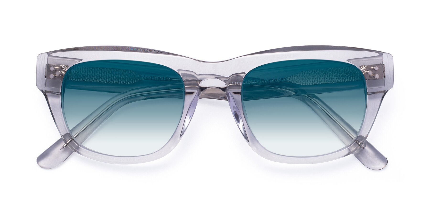 Folded Front of April in Clear with Blue Gradient Lenses