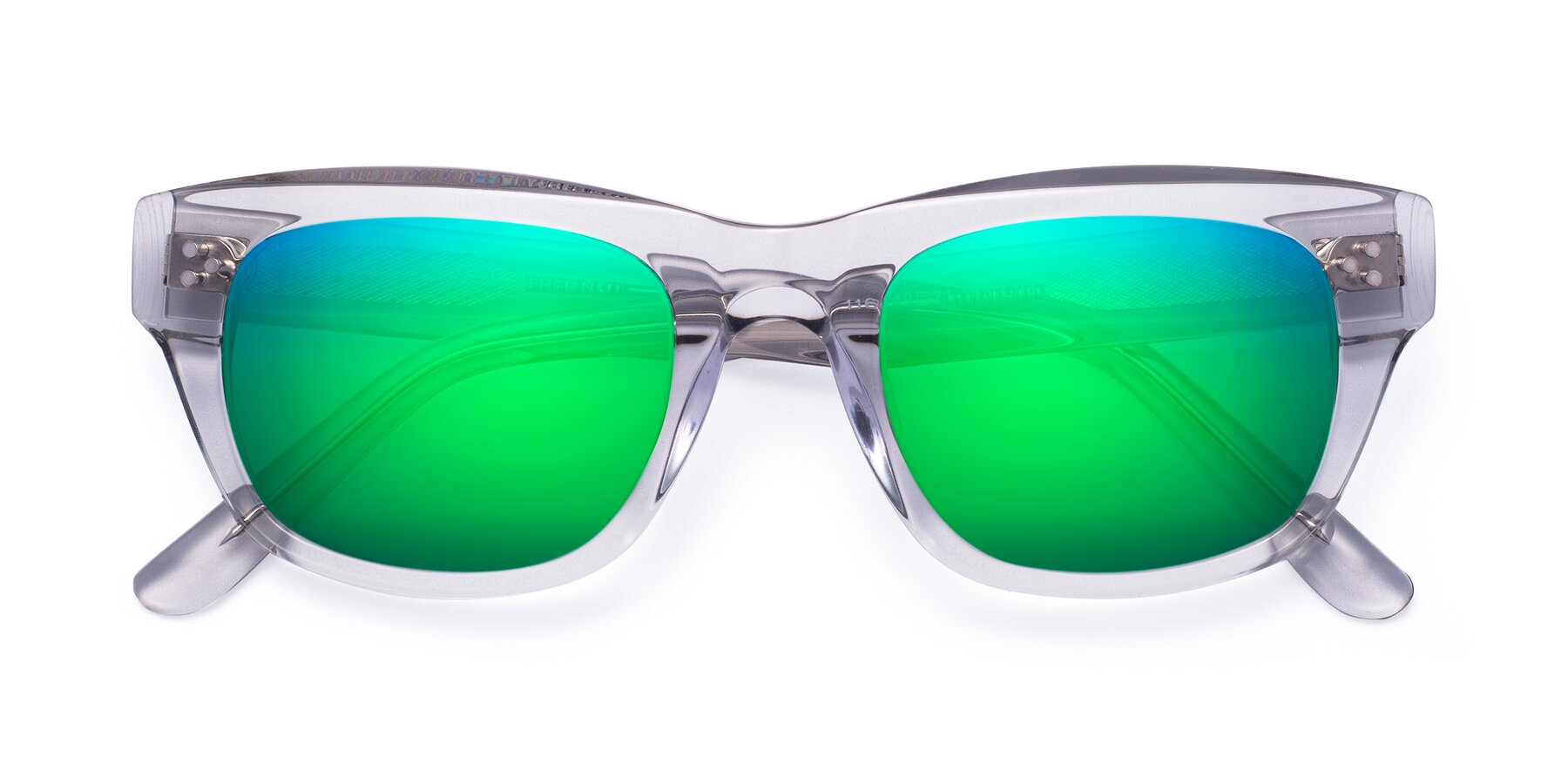 Folded Front of April in Clear with Green Mirrored Lenses