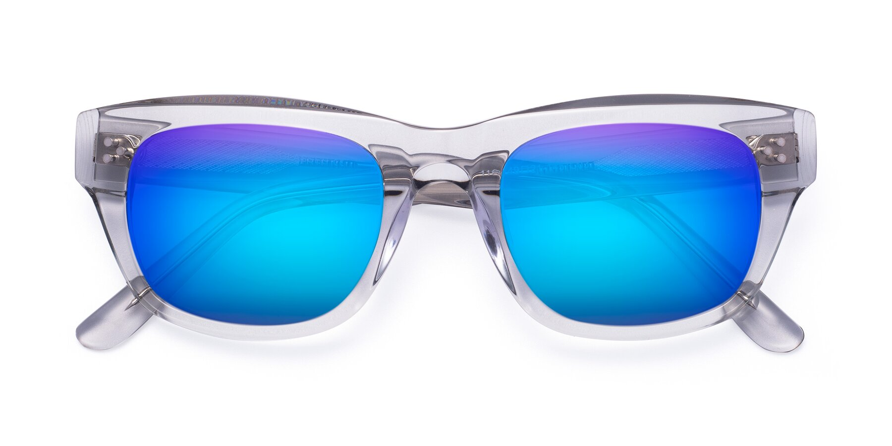 Folded Front of April in Clear with Blue Mirrored Lenses