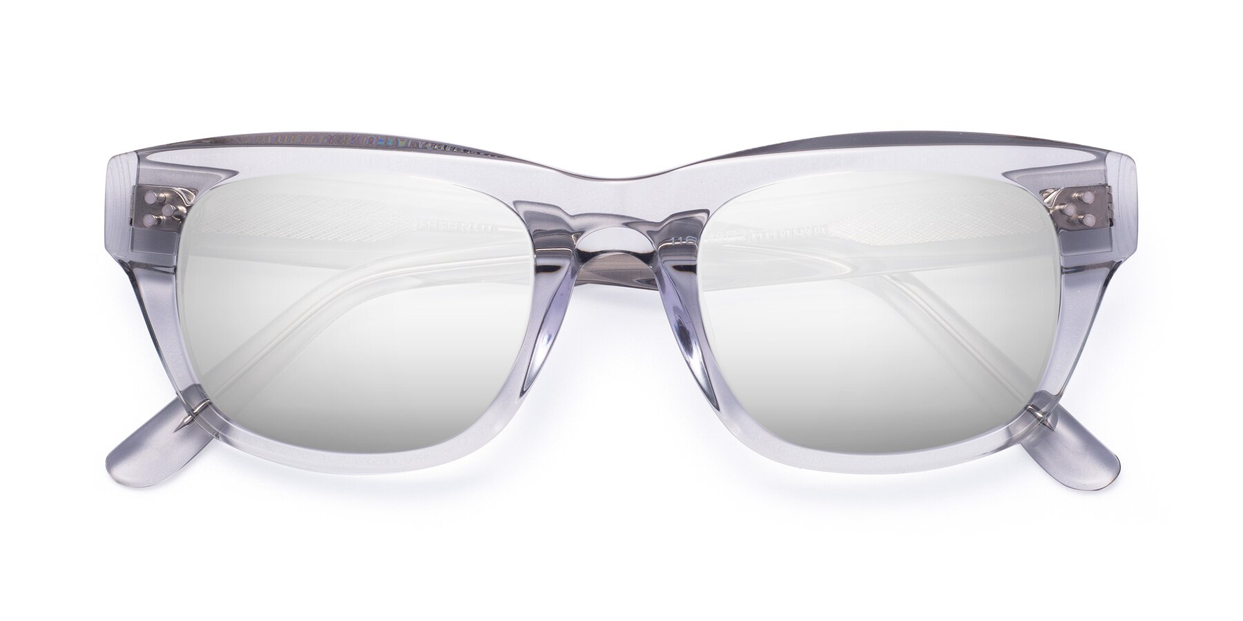Folded Front of April in Clear with Silver Mirrored Lenses