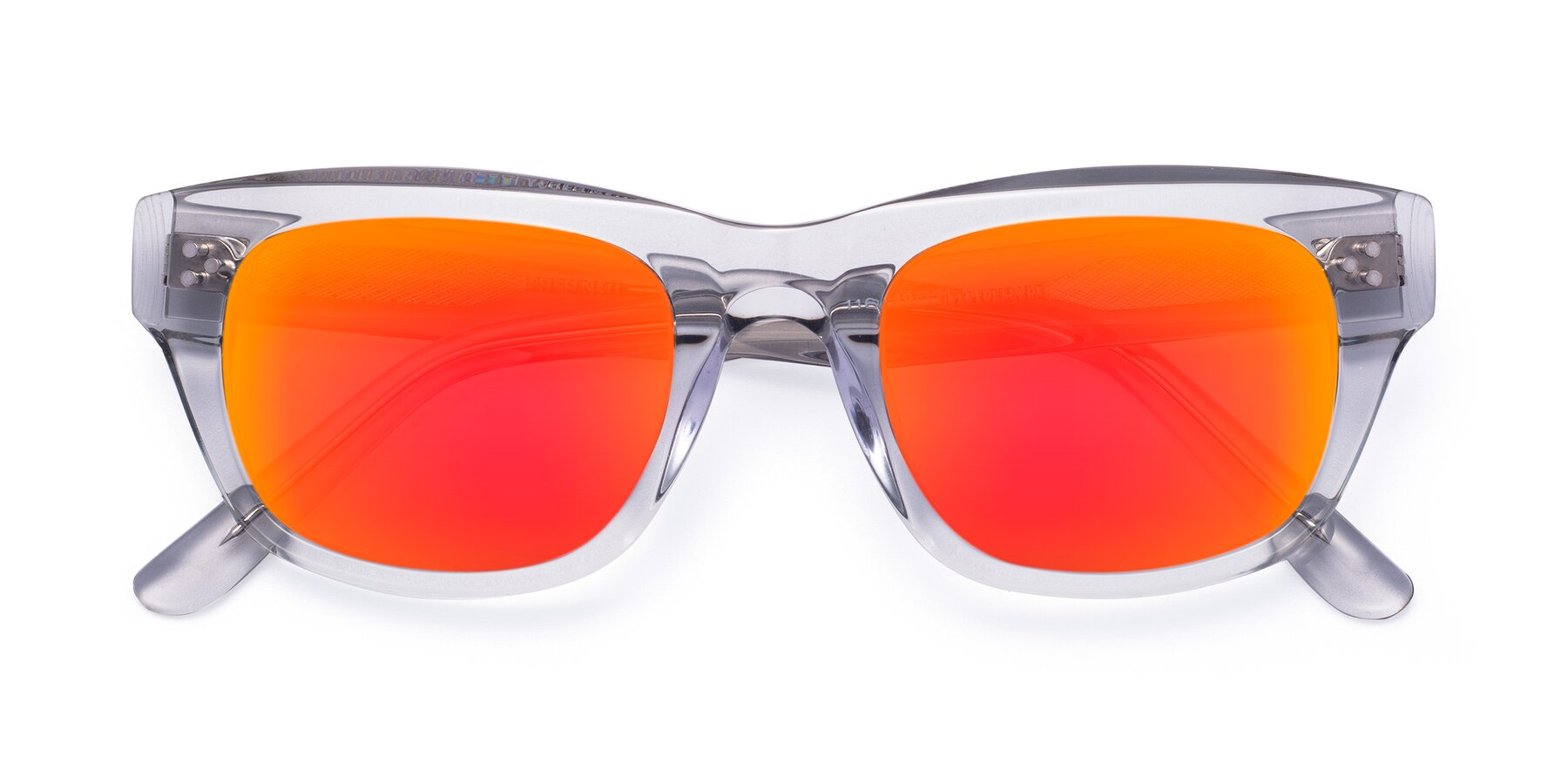 Folded Front of April in Clear with Red Gold Mirrored Lenses