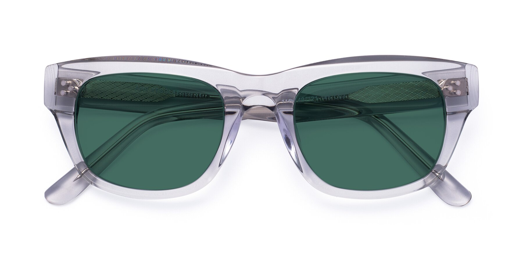 Folded Front of April in Clear with Green Polarized Lenses
