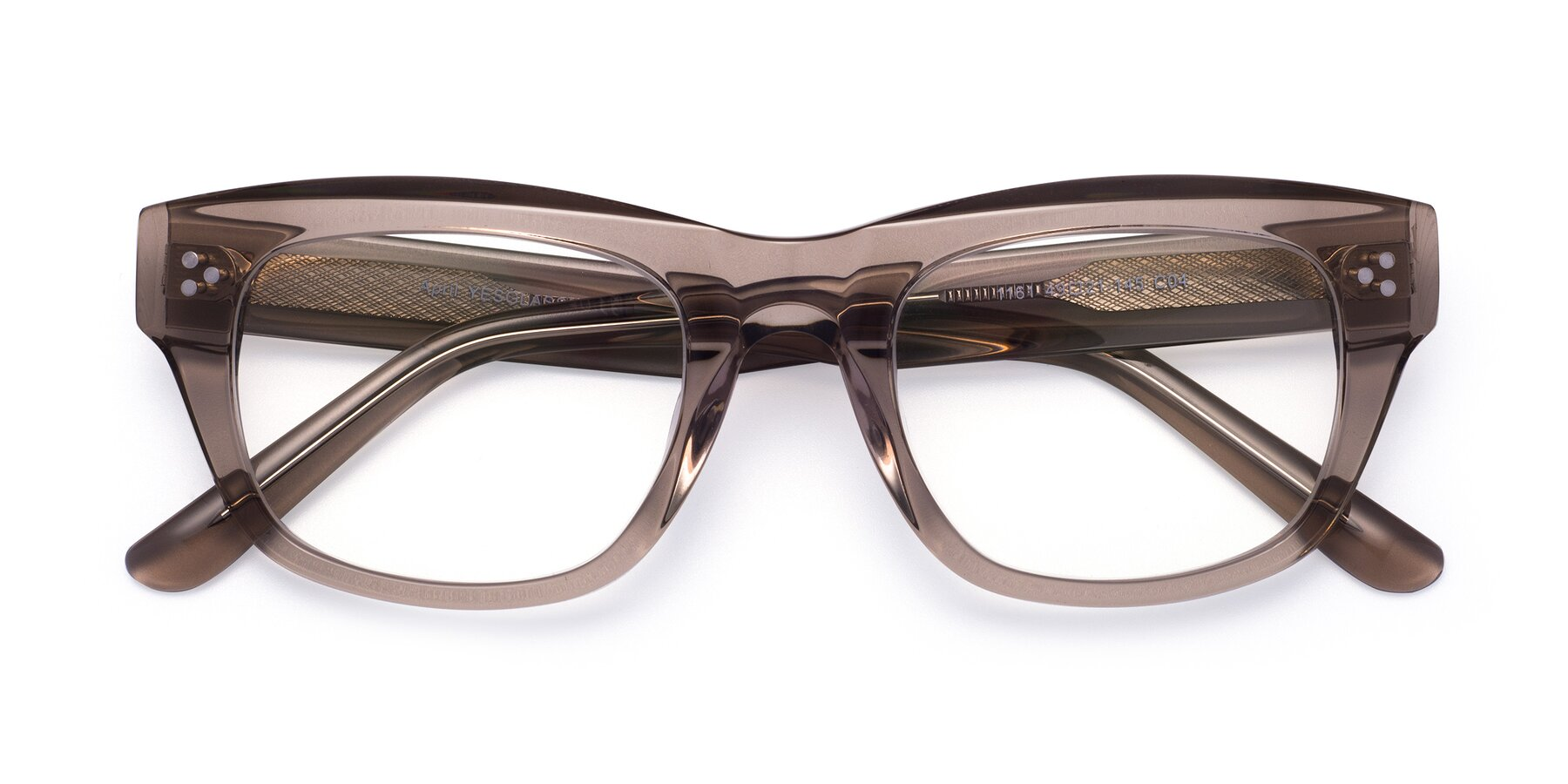 Folded Front of April in Amber with Clear Blue Light Blocking Lenses