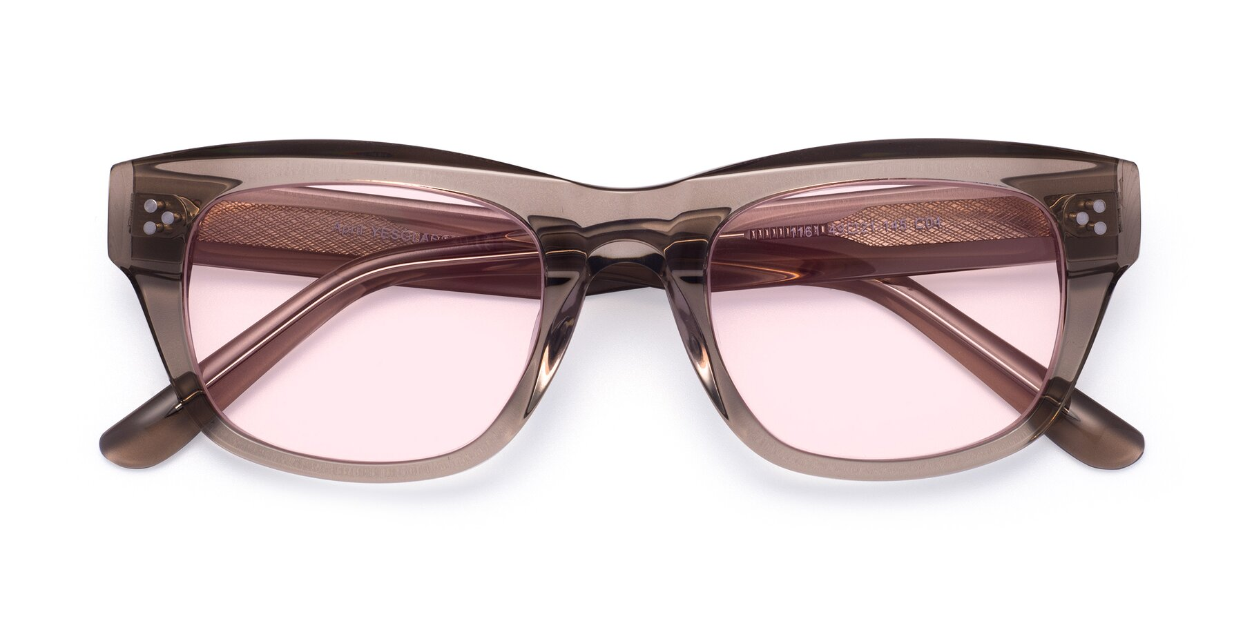 Folded Front of April in Amber with Light Pink Tinted Lenses