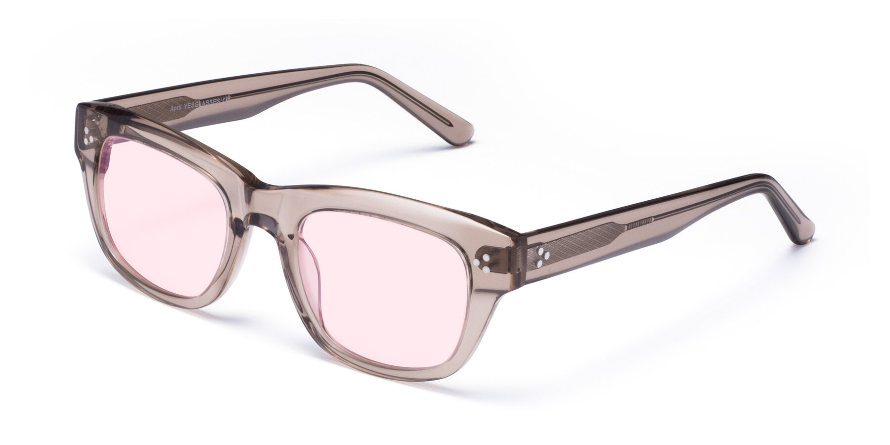 Angle of April in Amber with Light Pink Tinted Lenses