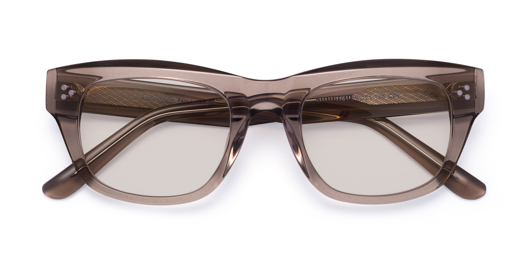 Folded Front of April in Amber with Light Brown Tinted Lenses