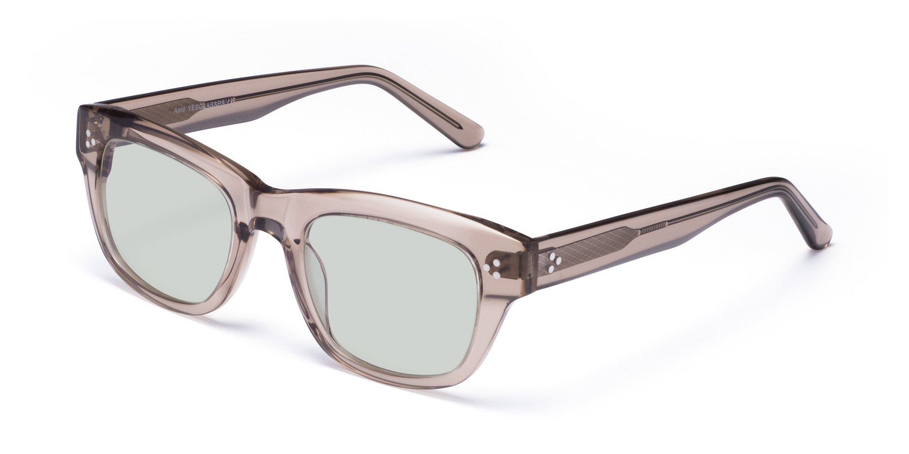 Angle of April in Amber with Light Green Tinted Lenses