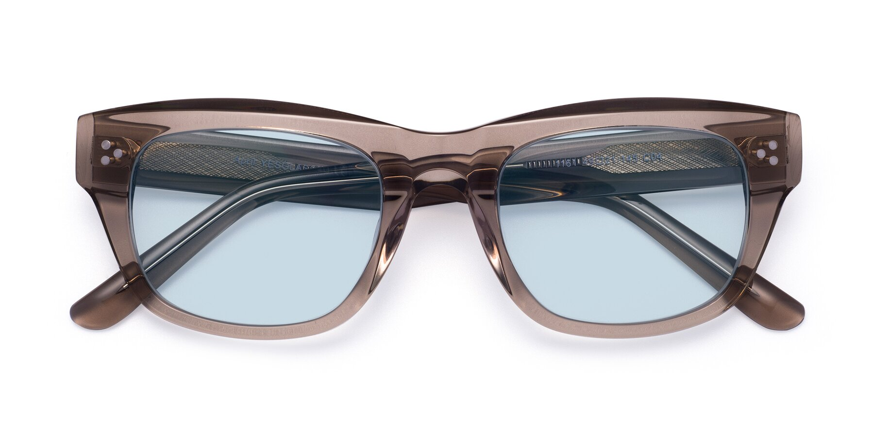 Folded Front of April in Amber with Light Blue Tinted Lenses