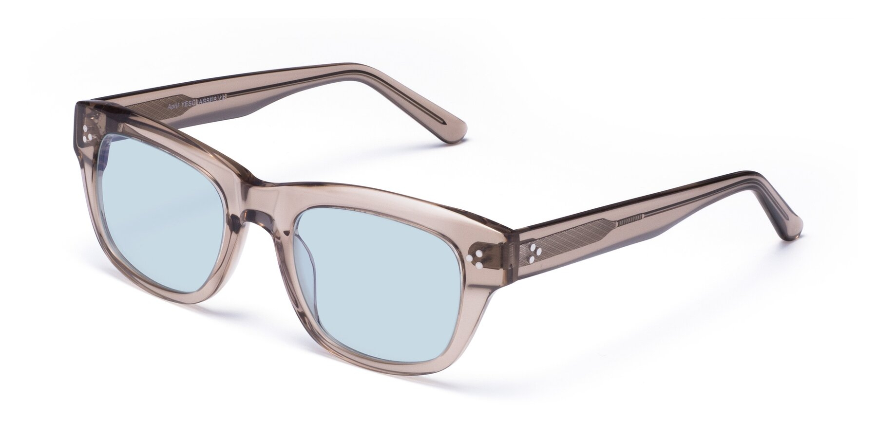 Angle of April in Amber with Light Blue Tinted Lenses