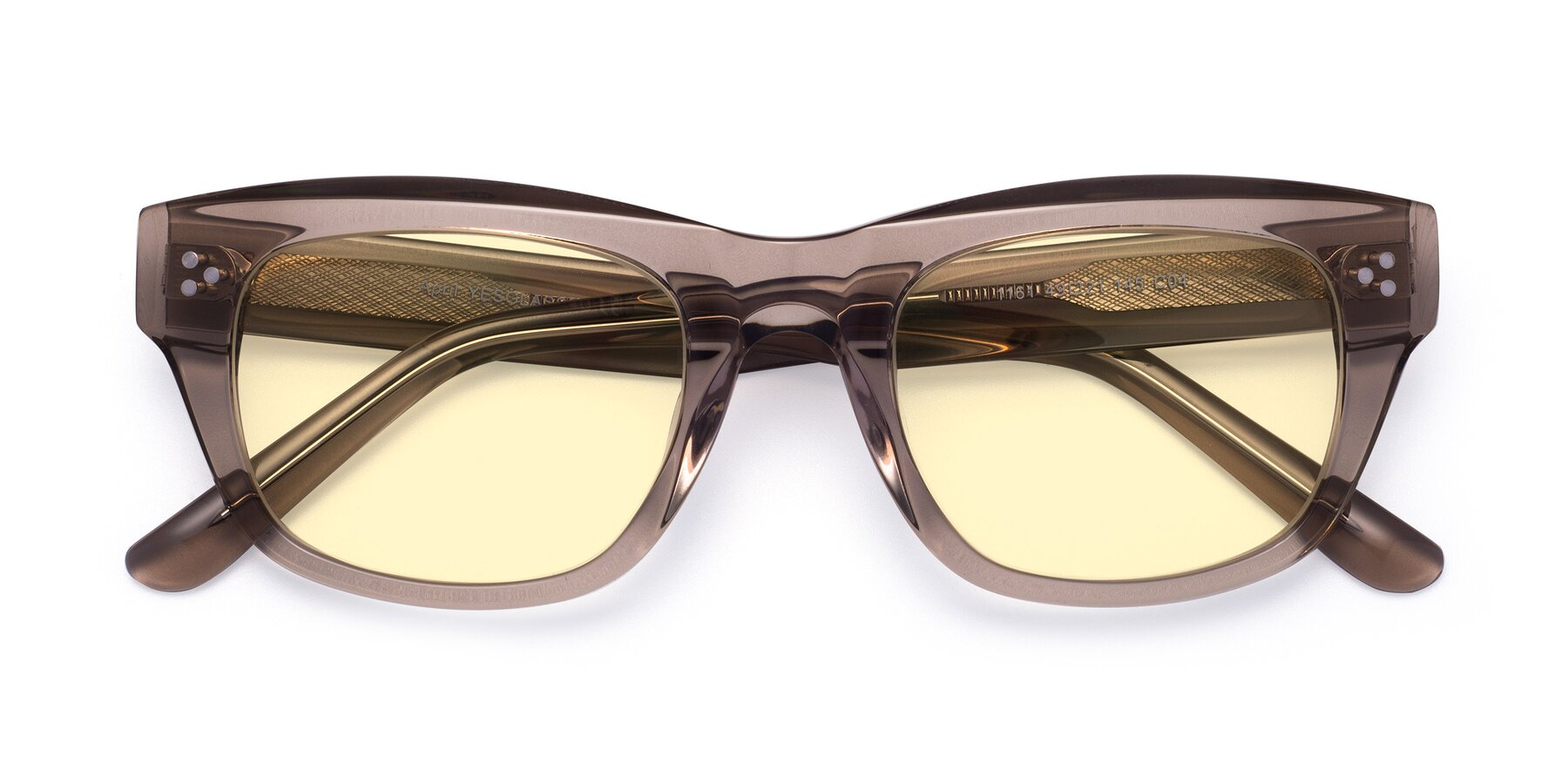 Folded Front of April in Amber with Light Yellow Tinted Lenses