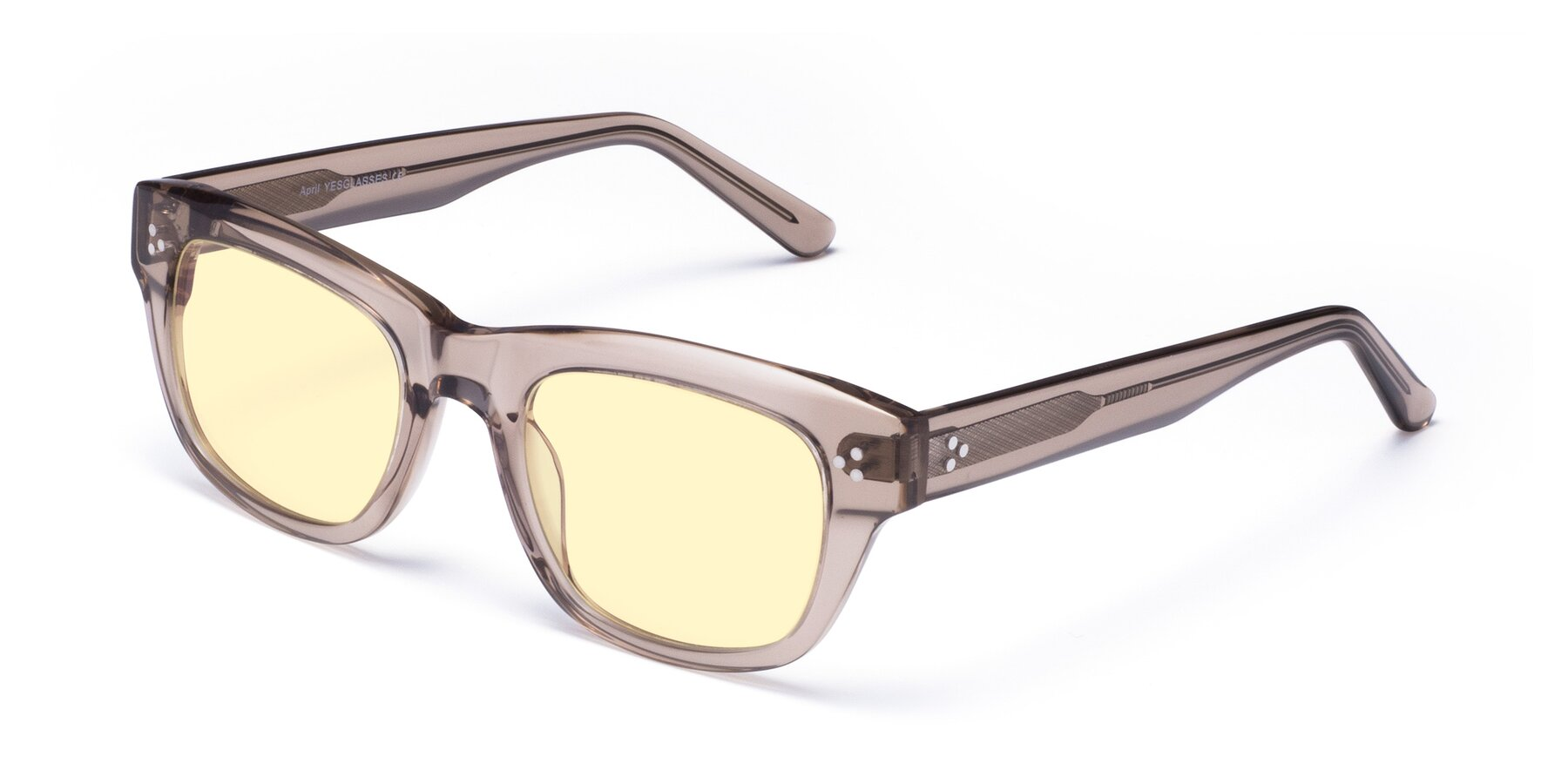 Angle of April in Amber with Light Yellow Tinted Lenses
