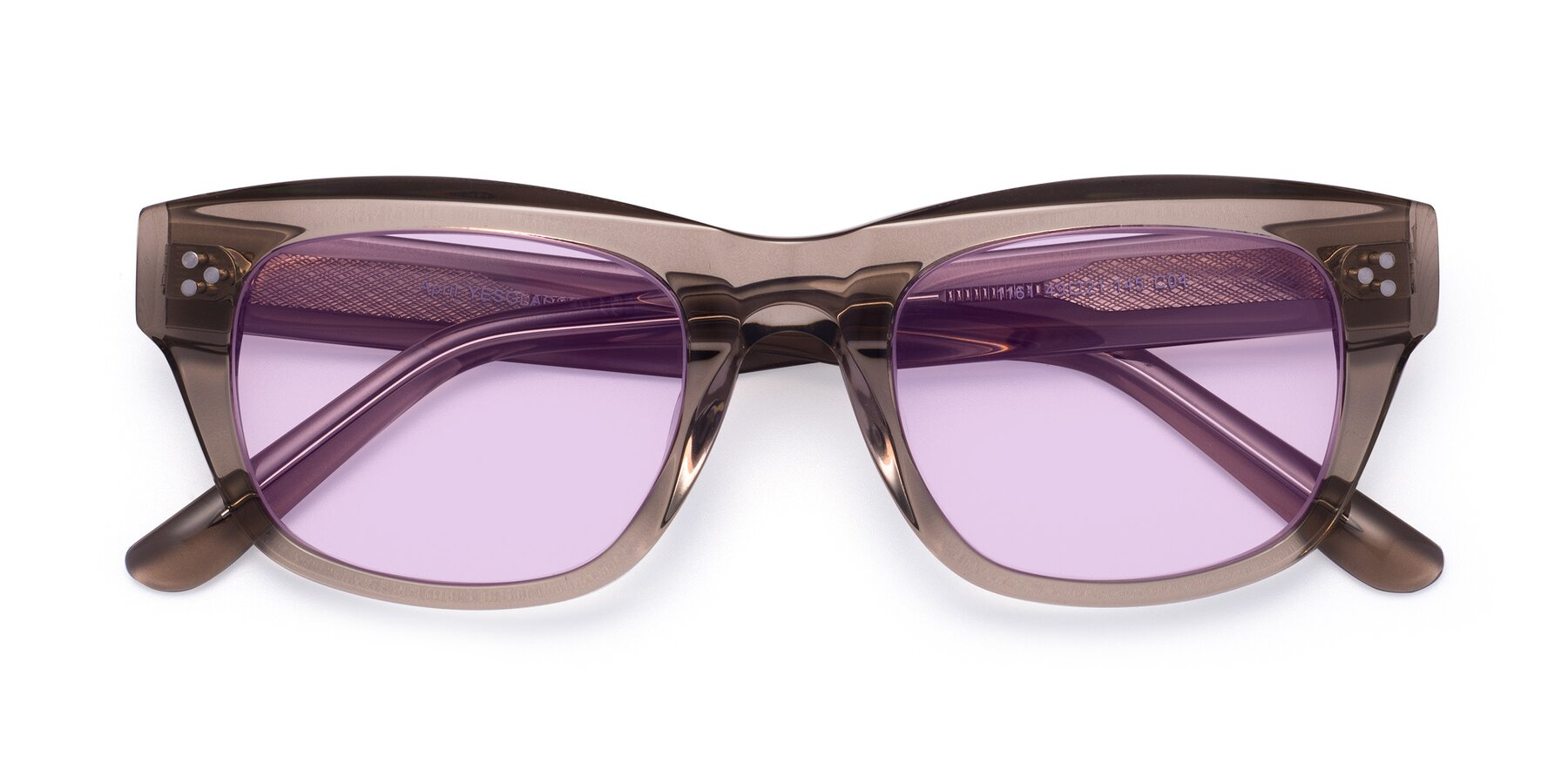 Folded Front of April in Amber with Light Purple Tinted Lenses
