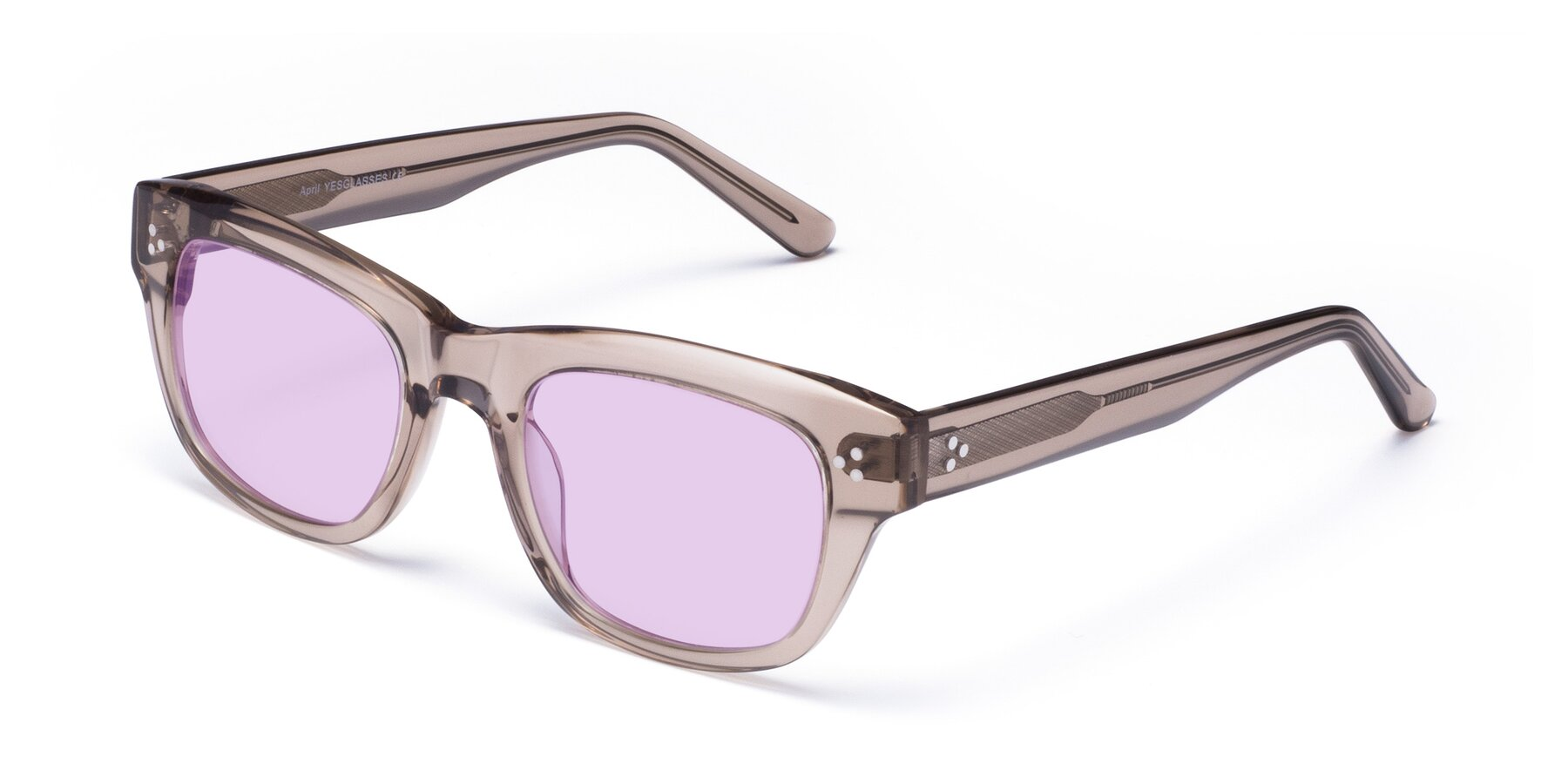 Angle of April in Amber with Light Purple Tinted Lenses