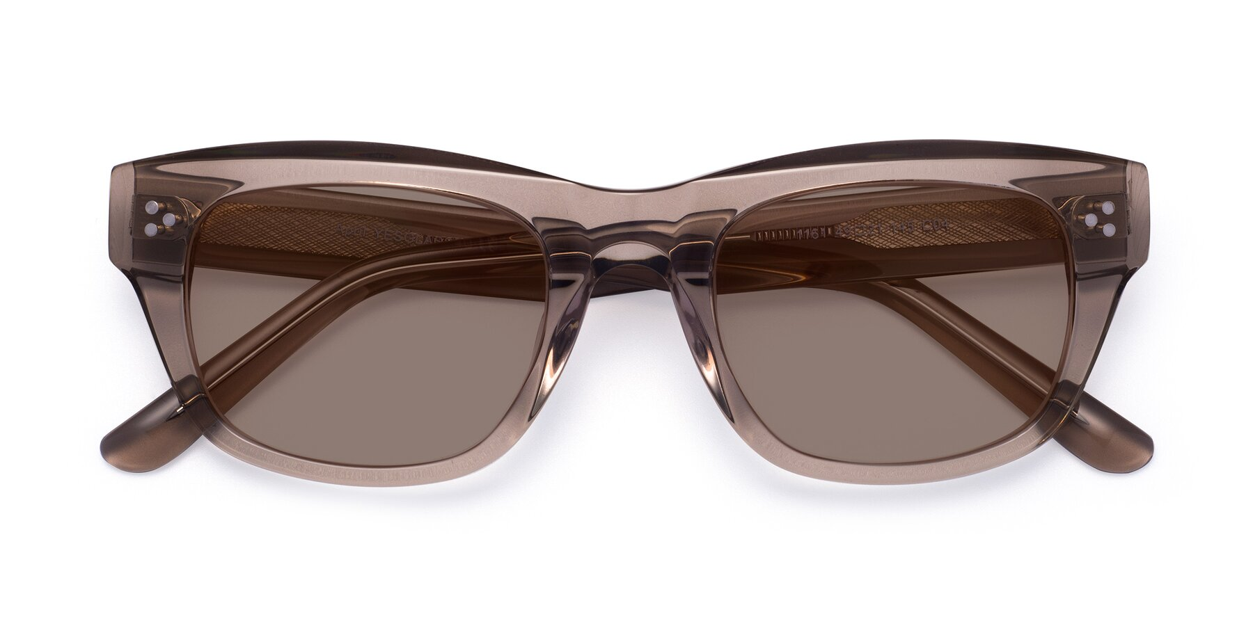 Folded Front of April in Amber with Medium Brown Tinted Lenses