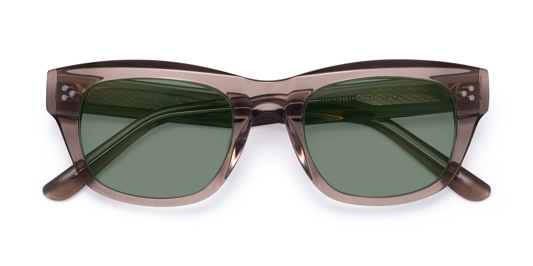 Folded Front of April in Amber with Medium Green Tinted Lenses