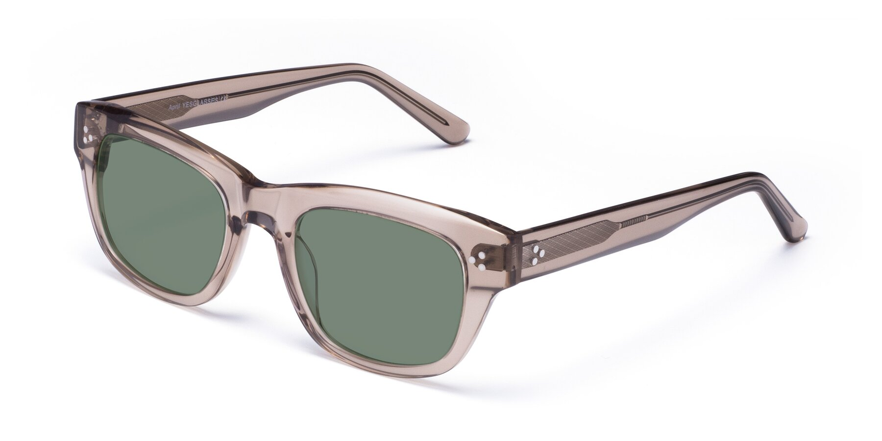 Angle of April in Amber with Medium Green Tinted Lenses