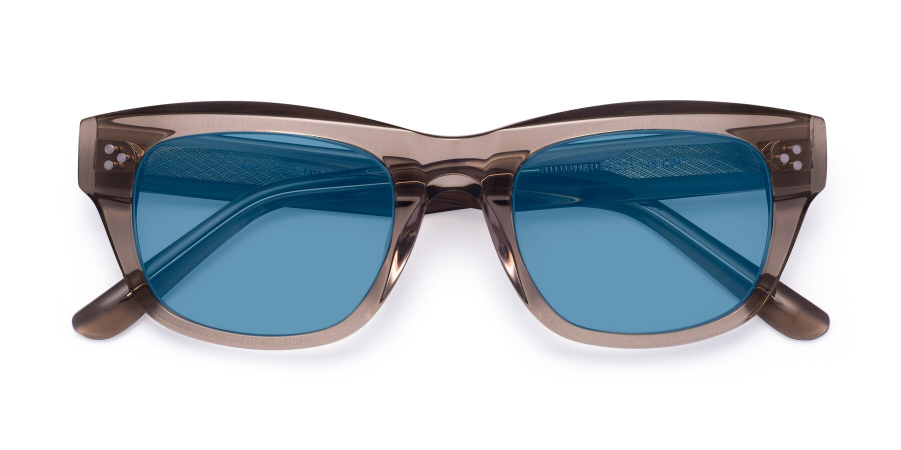 Folded Front of April in Amber with Medium Blue Tinted Lenses