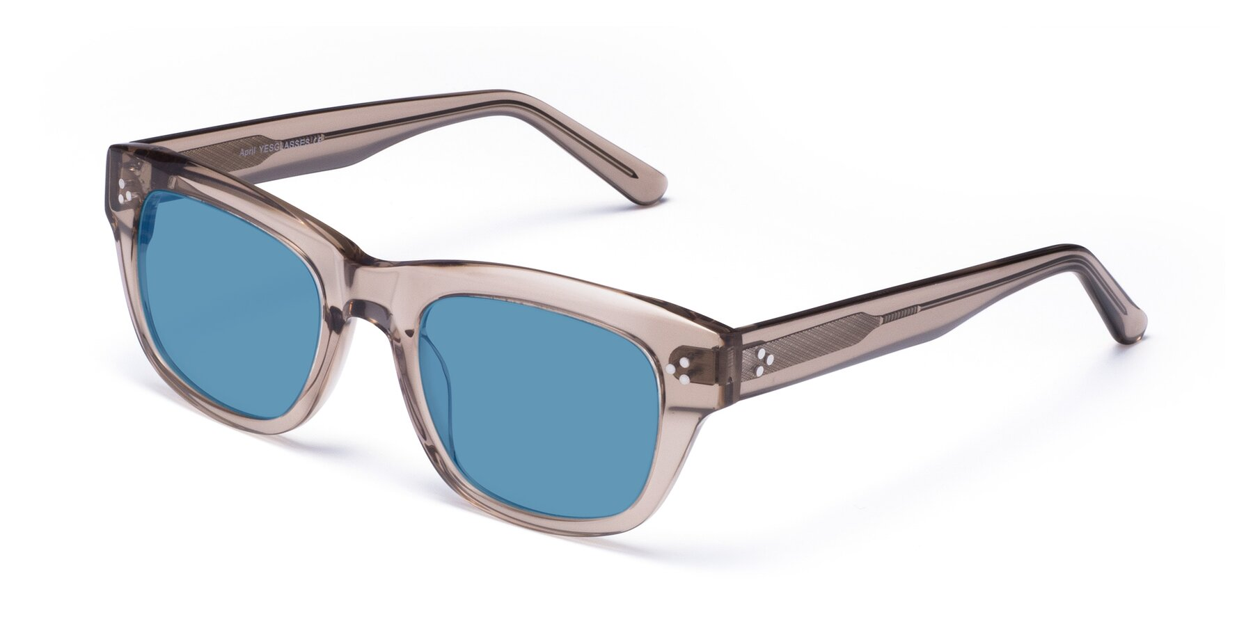 Angle of April in Amber with Medium Blue Tinted Lenses
