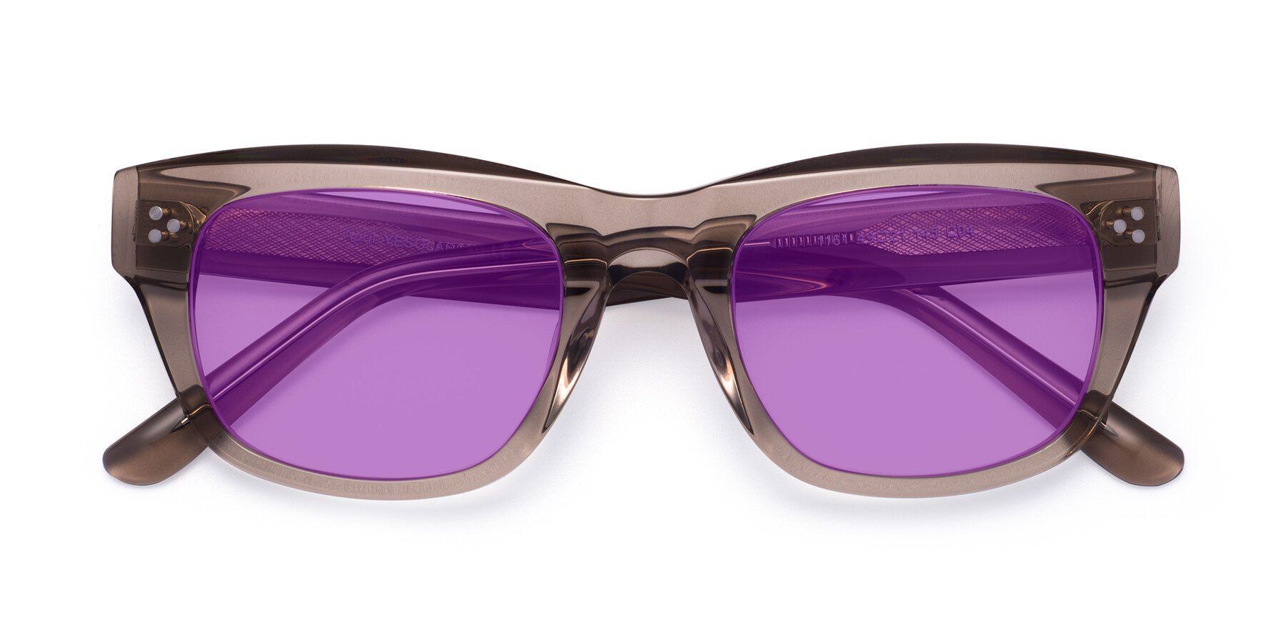 Folded Front of April in Amber with Medium Purple Tinted Lenses