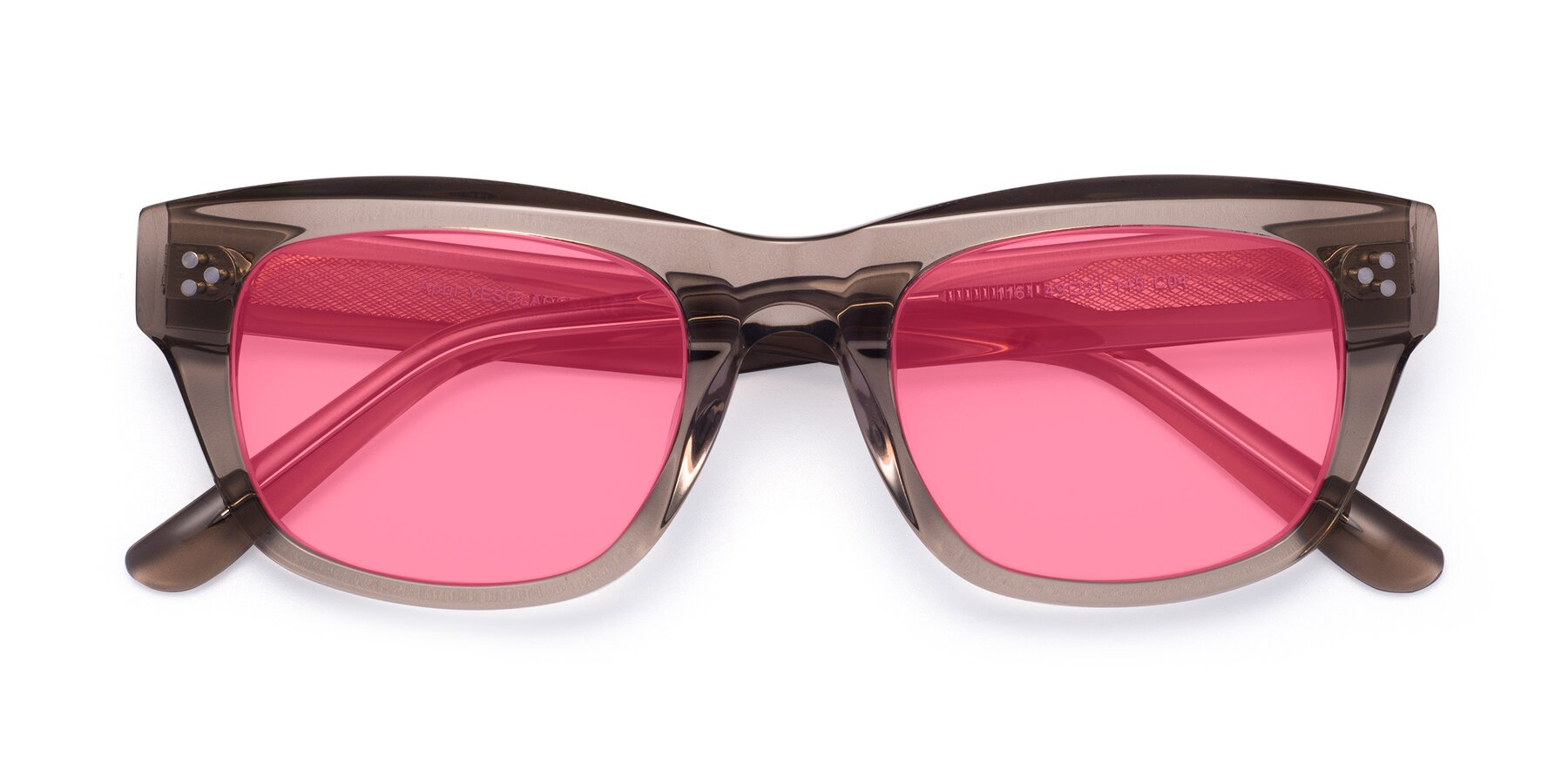 Folded Front of April in Amber with Pink Tinted Lenses