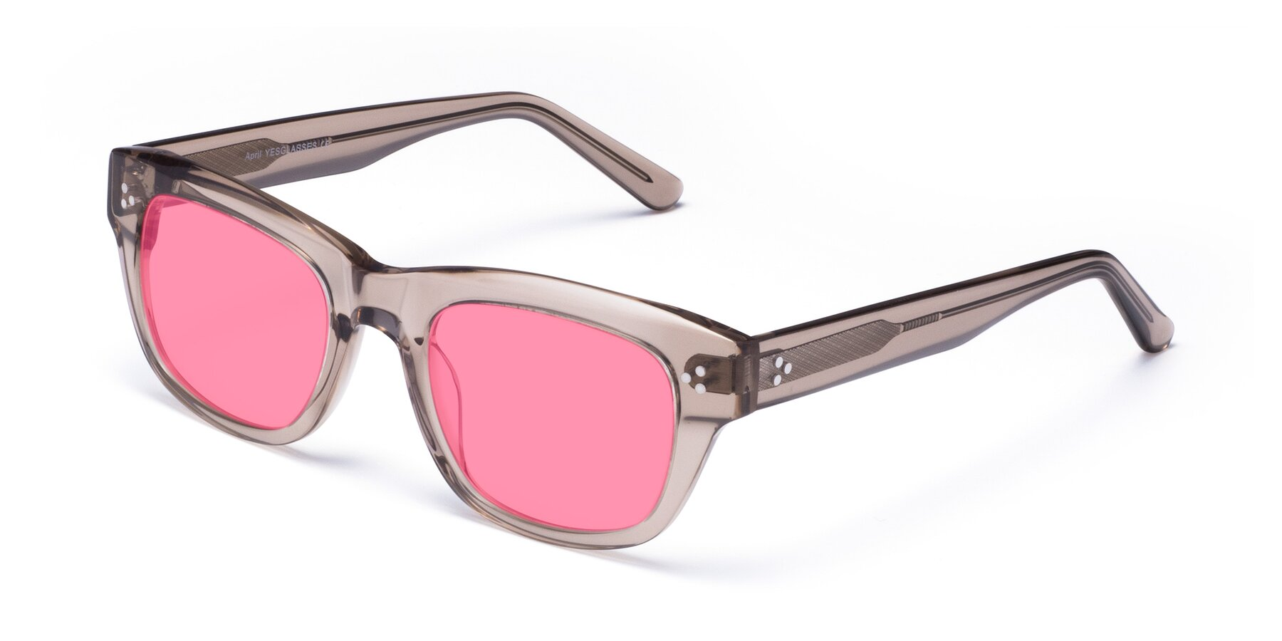 Angle of April in Amber with Pink Tinted Lenses