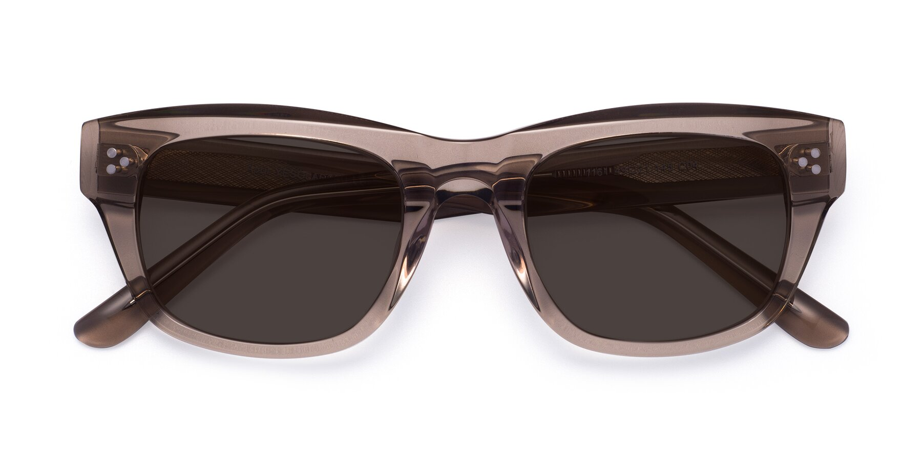 Folded Front of April in Amber with Gray Tinted Lenses
