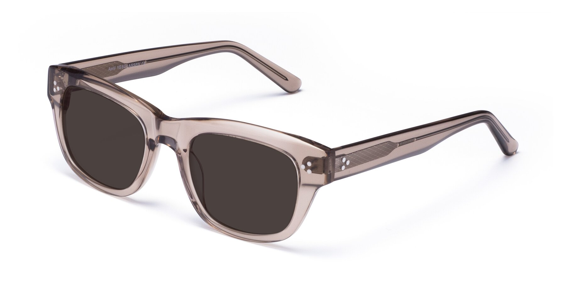 Angle of April in Amber with Gray Tinted Lenses