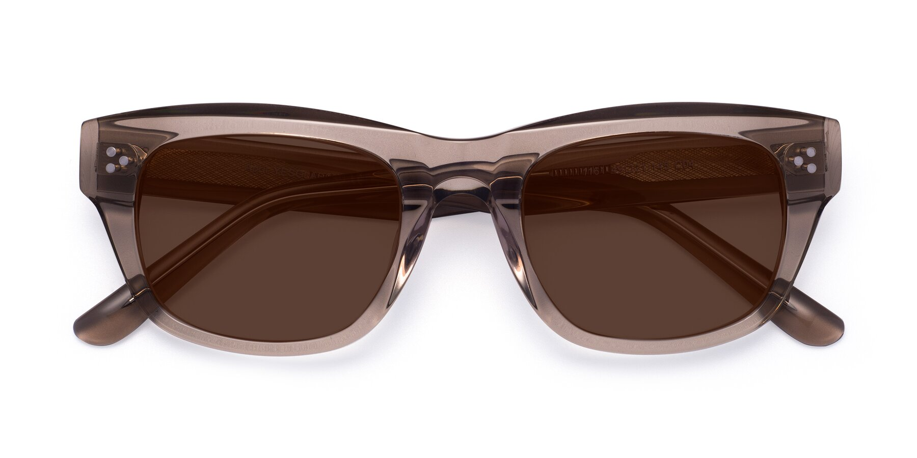 Folded Front of April in Amber with Brown Tinted Lenses