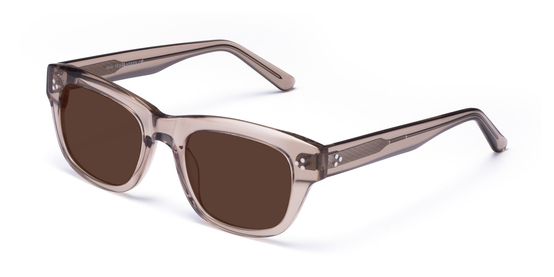 Angle of April in Amber with Brown Tinted Lenses