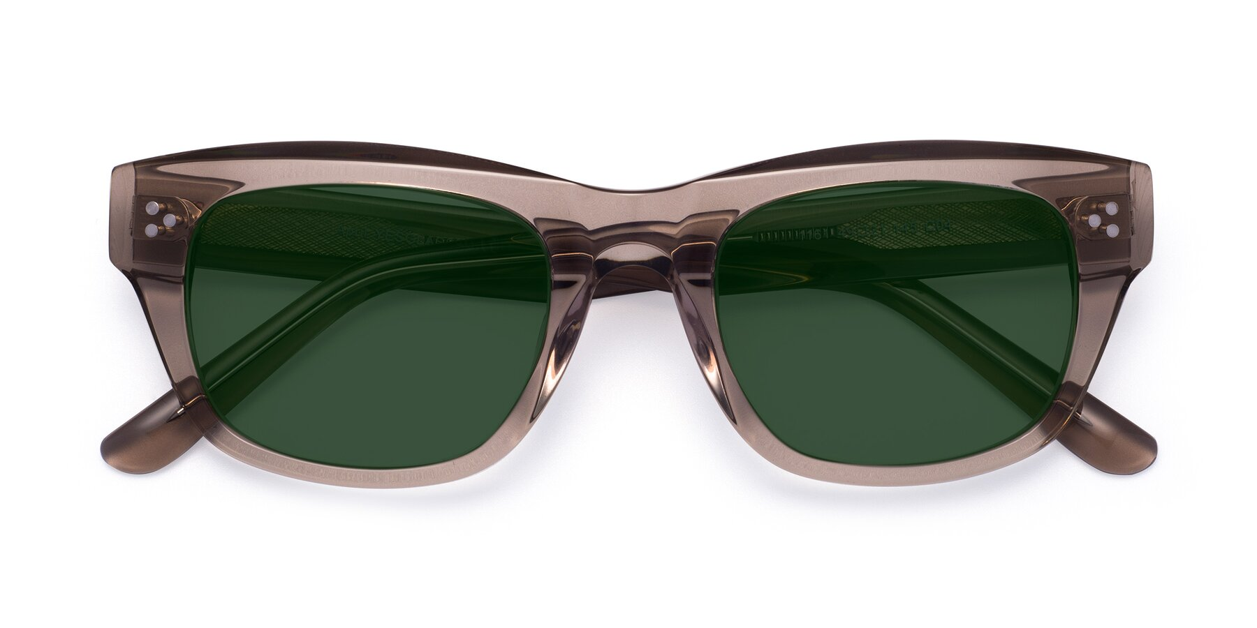 Folded Front of April in Amber with Green Tinted Lenses