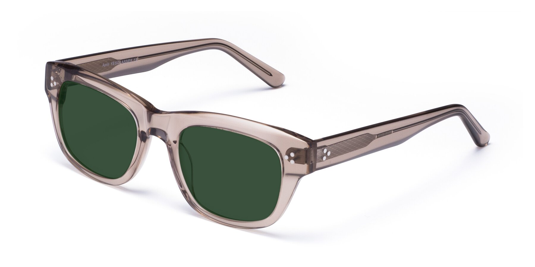 Angle of April in Amber with Green Tinted Lenses