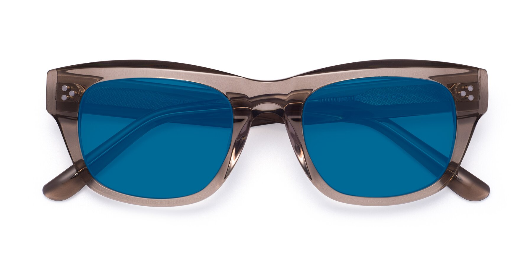 Folded Front of April in Amber with Blue Tinted Lenses