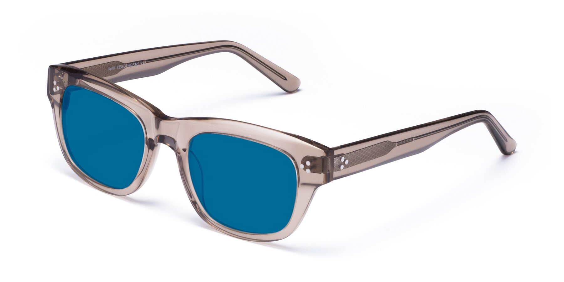 Angle of April in Amber with Blue Tinted Lenses