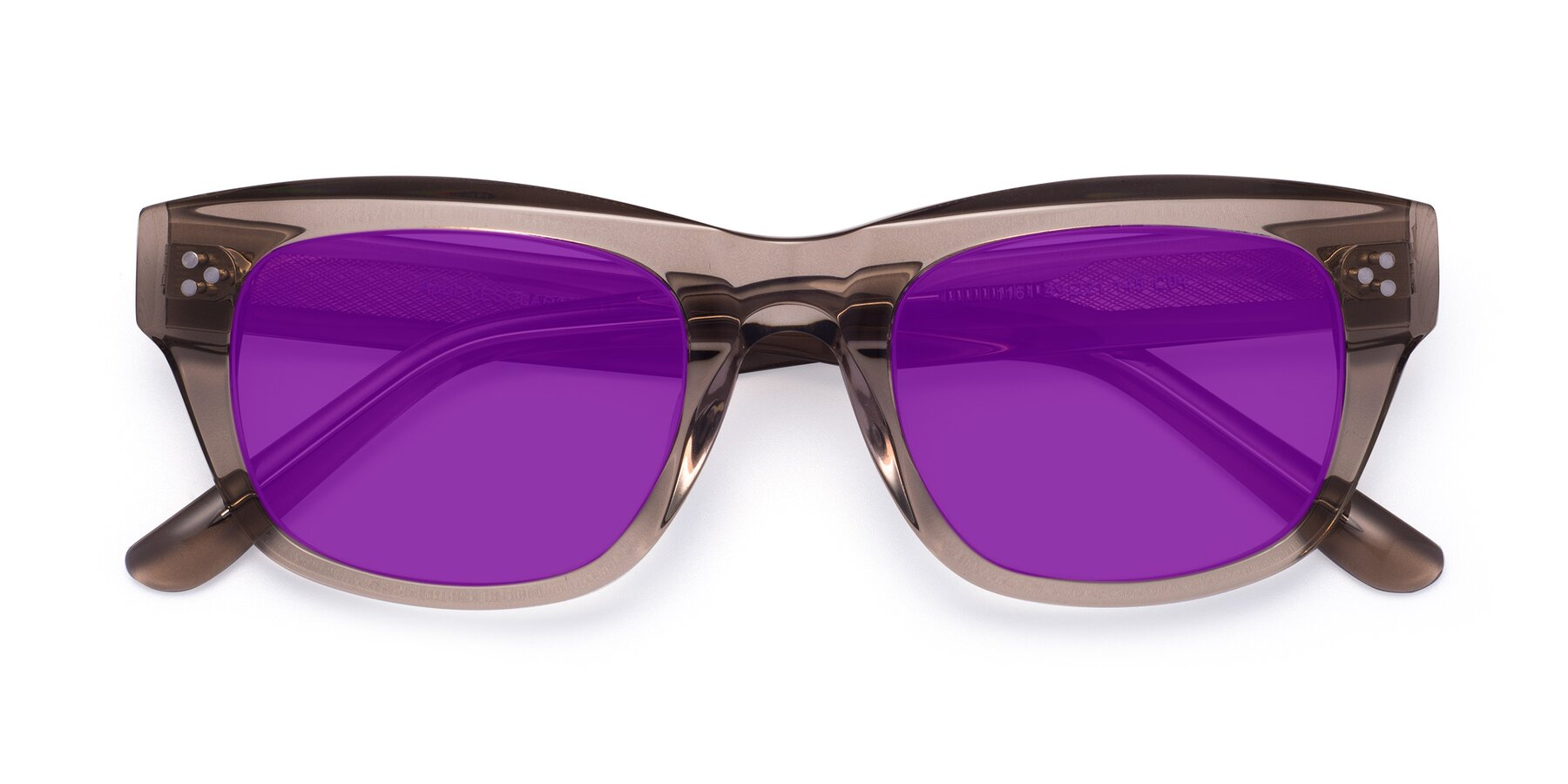 Folded Front of April in Amber with Purple Tinted Lenses